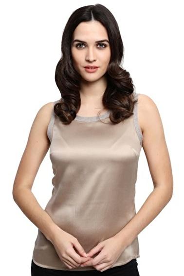 Silk and Cashmere Kolsuz Bluz Vizon